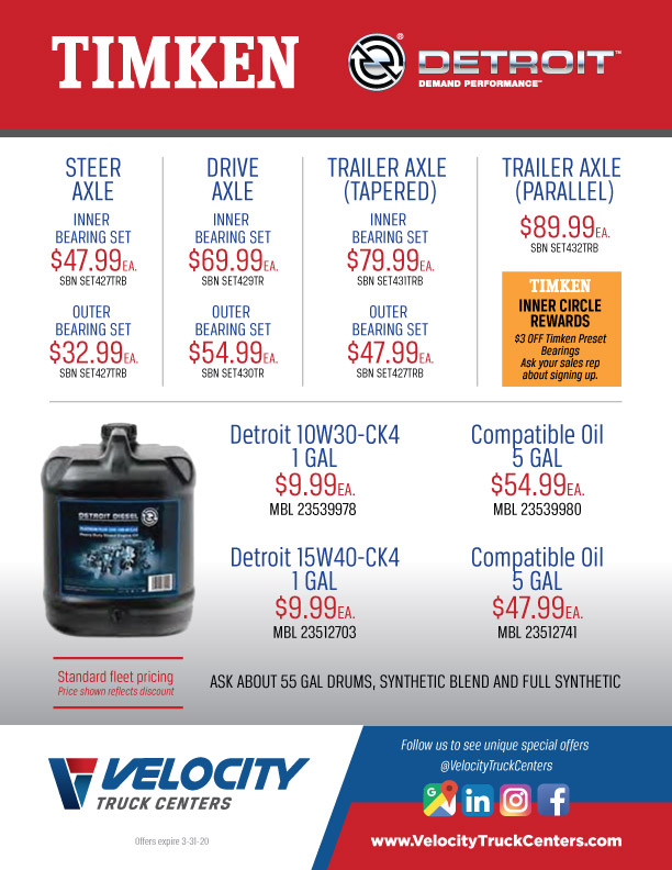 Timken Bearings & Detroit Oil Parts Specials